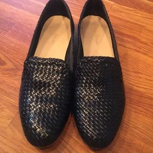 Cole Haan Black Woven Leather Flats